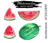 watercolor watermelon. vector... | Shutterstock .eps vector #672512890