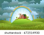 the rainbow protects the small... | Shutterstock .eps vector #672514930