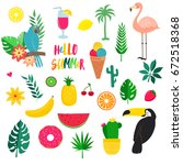 set of summer tropicheskiy... | Shutterstock .eps vector #672518368