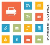 set of 12 work icons set... | Shutterstock .eps vector #672519526