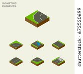 isometric road set of plash ... | Shutterstock .eps vector #672520699