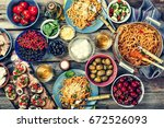 various asian and european... | Shutterstock . vector #672526093