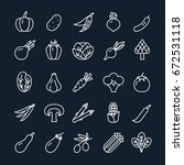vector vegetables outline icons ... | Shutterstock .eps vector #672531118