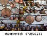 copper housewares at flea...   Shutterstock . vector #672531163
