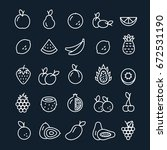 vector fruit outline icons set. ... | Shutterstock .eps vector #672531190