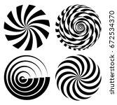 radial spiral rays set. vector... | Shutterstock .eps vector #672534370
