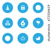 set of 6 baby icons set... | Shutterstock .eps vector #672534619