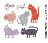 vector illustrations of cat for ... | Shutterstock .eps vector #672545728