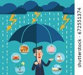business man with umbrella...   Shutterstock .eps vector #672551374