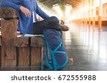 young man asian girl traveling... | Shutterstock . vector #672555988