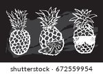 cute black and white set with... | Shutterstock .eps vector #672559954