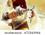 gym equipment and sport concept.... | Shutterstock . vector #672565966