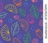 vector cute hand drawing fruits ... | Shutterstock .eps vector #672567094