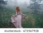 beautiful young woman in a long ... | Shutterstock . vector #672567928