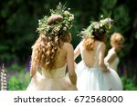 wedding. the bride in a white... | Shutterstock . vector #672568000