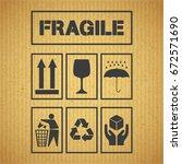 set of package handling labels...   Shutterstock .eps vector #672571690