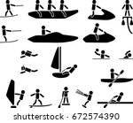 symbols of 18 water sports... | Shutterstock .eps vector #672574390
