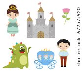little princesses set. princess ... | Shutterstock .eps vector #672575920