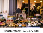 spanish tapas bar with many... | Shutterstock . vector #672577438