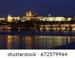prague  view of the charles... | Shutterstock . vector #672579964