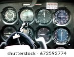 detail of old airplane cockpit. ... | Shutterstock . vector #672592774