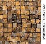stack of old lumber | Shutterstock . vector #672594130