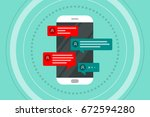 vector flat smart phone with... | Shutterstock .eps vector #672594280