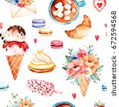 watercolor sweets background... | Shutterstock . vector #672594568
