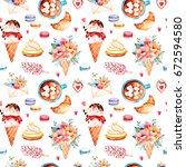 watercolor sweets background... | Shutterstock . vector #672594580