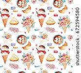 watercolor sweets background... | Shutterstock . vector #672594580