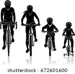 family biking silhouette front... | Shutterstock .eps vector #672601600