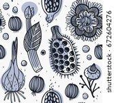 vector floral seamless pattern... | Shutterstock .eps vector #672604276