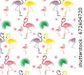 flamingo seamless pattern.... | Shutterstock .eps vector #672604720