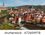 cesky krumlov in the czech  old ... | Shutterstock . vector #672604978