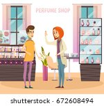 perfume shop composition with... | Shutterstock .eps vector #672608494