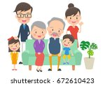 the three generation family who ... | Shutterstock .eps vector #672610423