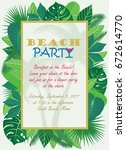 beach party invitation template ... | Shutterstock .eps vector #672614770