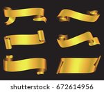 gold ribbon banners.vector... | Shutterstock .eps vector #672614956