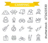 camping icons  thin line design | Shutterstock .eps vector #672623530
