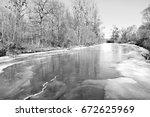 old rhine in lichtenau... | Shutterstock . vector #672625969