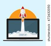 rocket fast start up launch... | Shutterstock .eps vector #672632050
