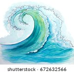 watercolor waves seascapes... | Shutterstock . vector #672632566