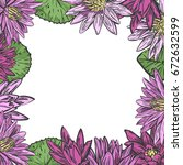 vector floral frame with... | Shutterstock .eps vector #672632599