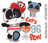 Stock vector cute cartoon panda boy wearing red cap playing basketball isolated on white background illustration 672633670