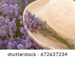 Stock photo woman s hat in lavender field 672637234
