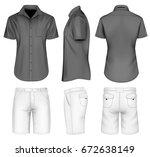 men's bermuda shorts and black... | Shutterstock .eps vector #672638149