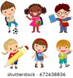 pupils boys and girls | Shutterstock .eps vector #672638836