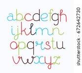 hand drawn vector alphabet... | Shutterstock .eps vector #672642730