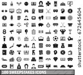 100 sweepstakes icons set in... | Shutterstock . vector #672645604