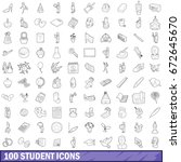 100 student icons set in... | Shutterstock . vector #672645670